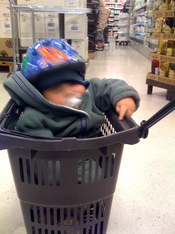 Otto i indkøbskurv